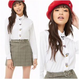 Disney x Forever Mickey Mouse White Poplin Shirt L